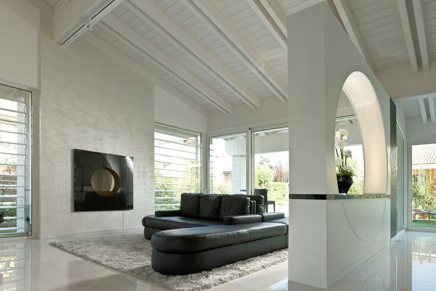 Living su misura divano pelle simone casarotto design architetto architettura interni agosto