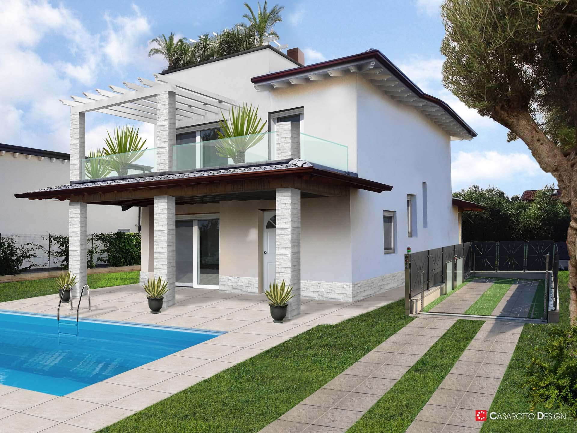 Agenzie Immobiliari Mantova render villa con piscina settore immobiliare - casarotto design