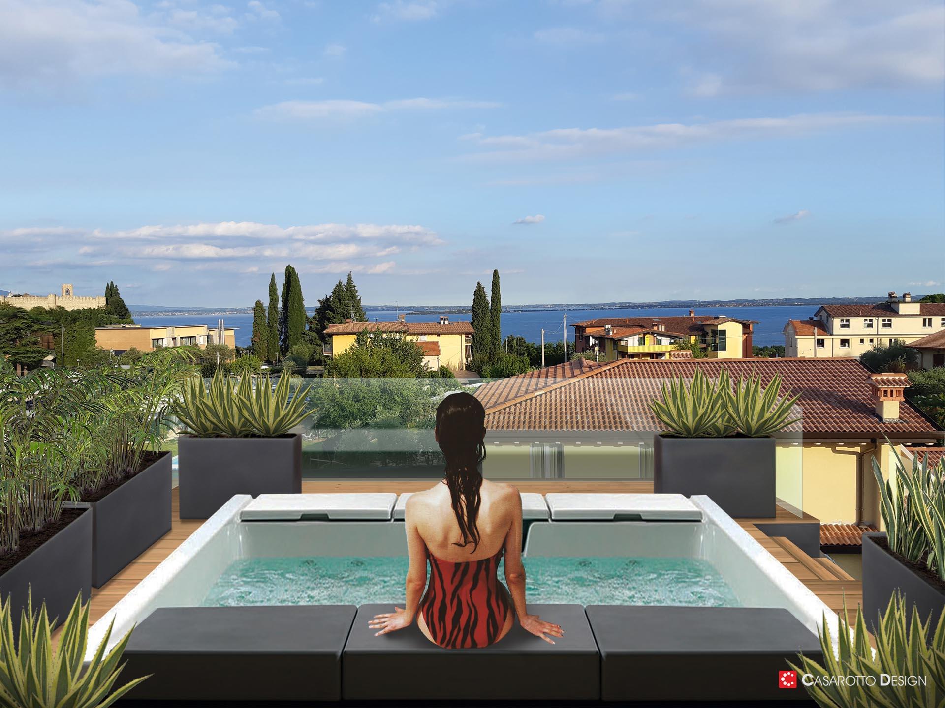 Render rendering abitazioni architettura agenzie immobiliari piscina panorama con persone simone casarotto design
