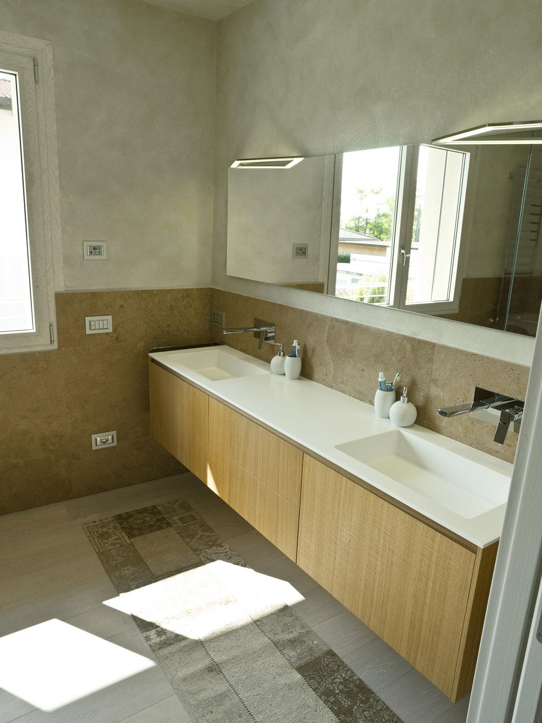 bagno moderno MG architettura d'interni simone casarotto design rovere taglio sega spoldi ideabagno