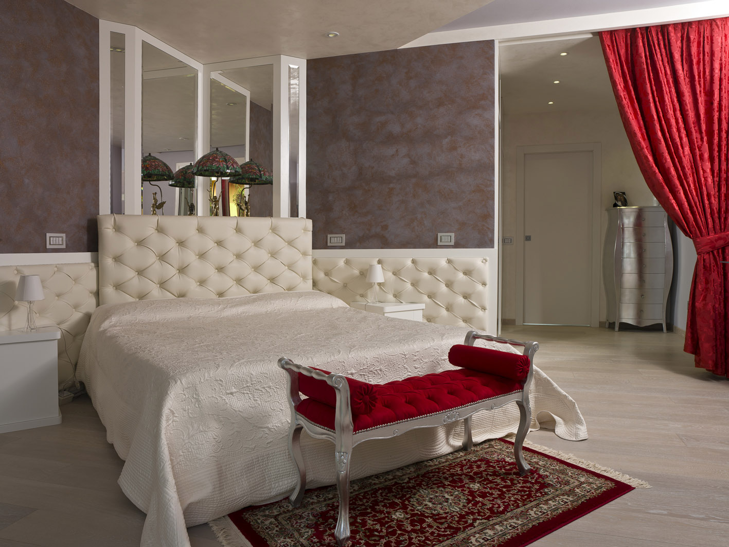 camera liberty art nouveau letto capitonné MG architettura d'interni simone casarotto design