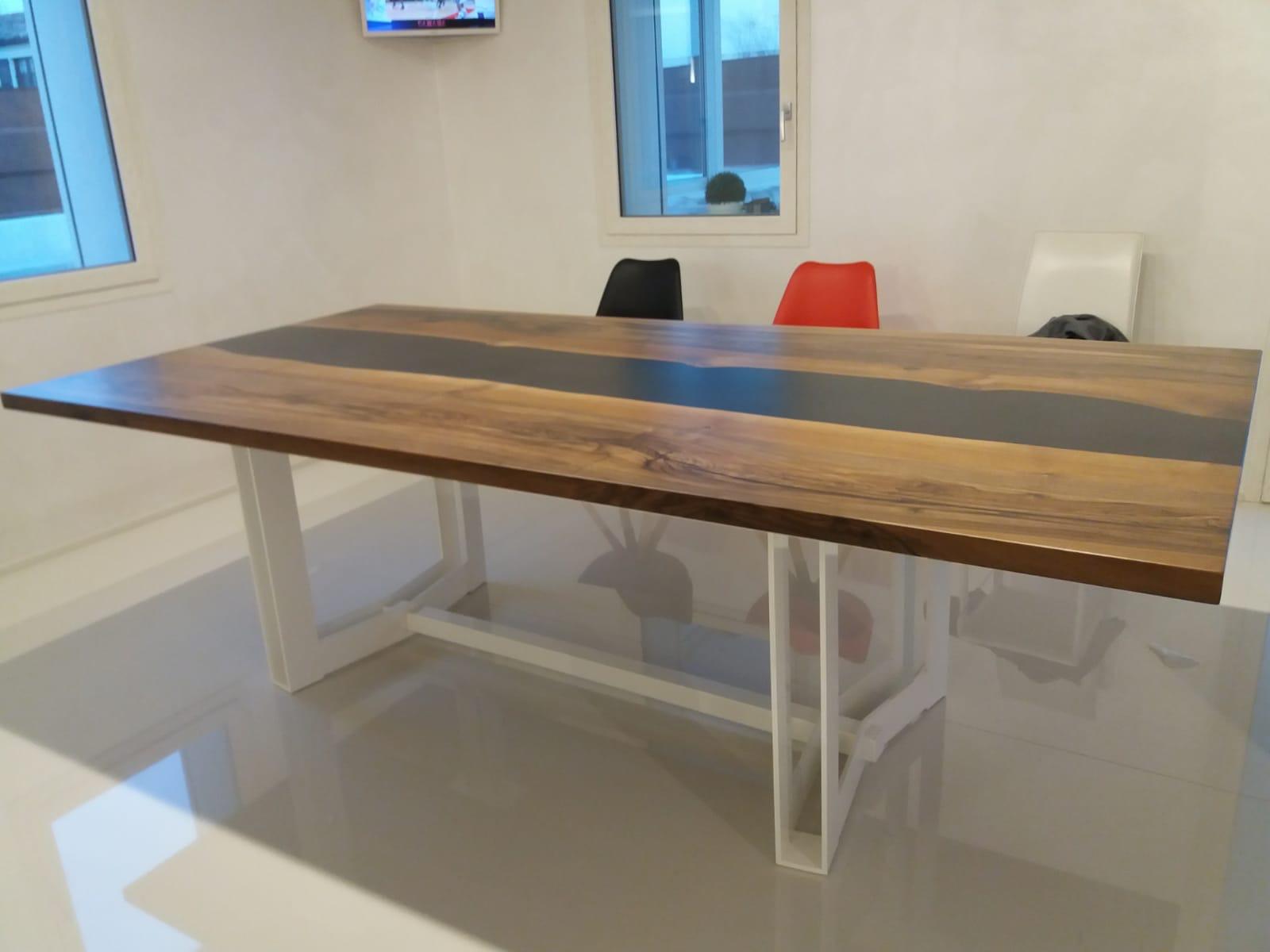 tavolo casarotto design legno noce nazionale resina foto 1