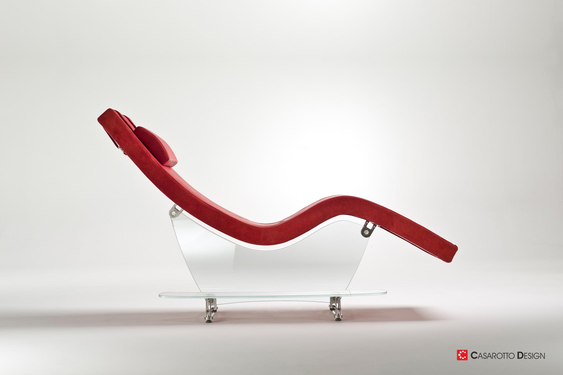 Chaise Longue Glass Longue design by Simone Casarotto engineering Mario Fantoni poltrona pelle vetro